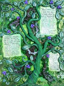 "Mixed Media piece I finished a few years ago.  I ""liberated"" a rusty chainsaw from a forest that was logged to create a story of peace and healing."