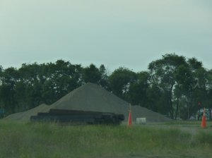 Open pile of fracking chemicals in Stanton, ND