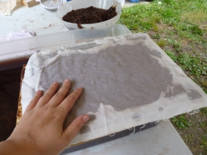 Papermaking - sheet of paper with beltane fire ash