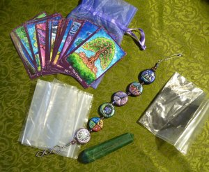 Tarot of Trees, grove opening mnemonic beads, char cloth, stone, and extra baggies