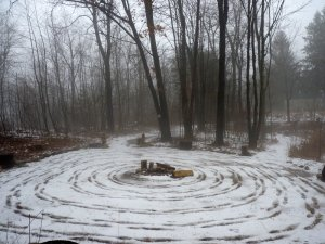 Another Imbolc spiral - this one in the sacred circle