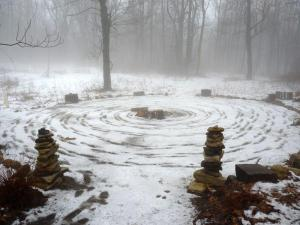 Snow mandala in a sacred grove