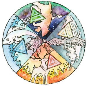 Elemental Wheel - Animals in the Druid Tradition (Artwork by yours truly, Dana O'Driscoll)
