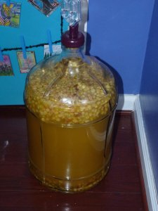 Dandelion wine fermenting....