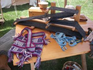 Inkle loom weaving - this weaves long strips and straps.