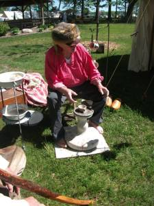 Pottery using a kick wheel