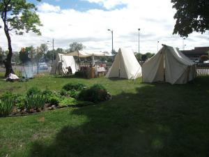 """Our """"camp"""" at the Feast of Ste. Claire.  I stayed in the tent on the far left."""