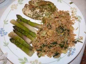 Ramp stir fry with fresh asparagus and fish.