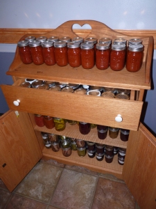 Some recently canned foods--this whole cabinet is full!