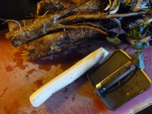 Washed burdock (upper portion of photo); peeled burdock (lower portion of photo)