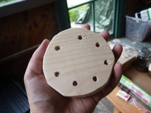 Drill holes in one of the disks