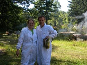Dana and Dad after visiting the beehives