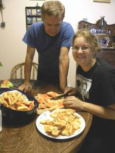 Dana and Dad cutting up Chicken of the Woods!