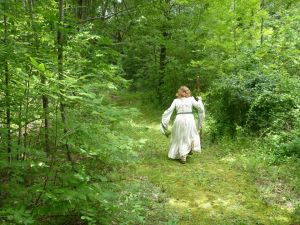 Me running in robes along the hedge!