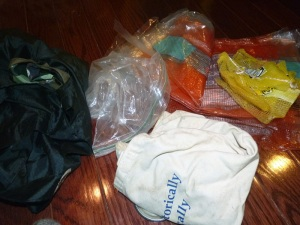 Various storage - canvas bags, plastic bags, lemon and orange bags (breathable)