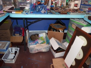 Art studio clutter--apparently it doesn't bother kittens!  A cleaner, clutter-free studio = more creative energy!