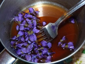 Violets in syrup