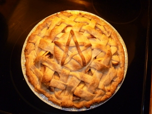 A special apple pie, baked for a friend as a housewarming gift!