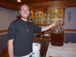 Preparing for bottling Dandelion-Ginger Sunrise wine!