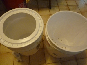 Buckets for straining