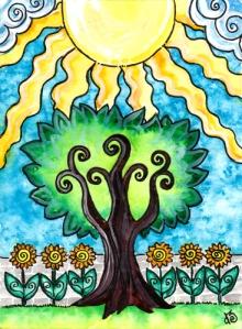 The Sun from the Tarot of Trees (my tarot deck)