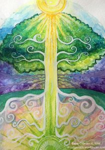 An unfinished painting of mine detailing the three currents running through a tree