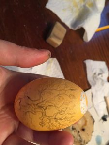 Second layer of dye and wax on my tree egg