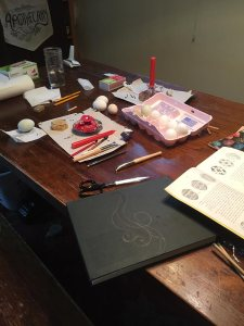 Workspace for egg wax drawing