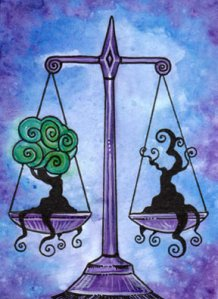 Justice - balancing Inner and Outer Truths (from the Tarot of Trees, www.tarotoftrees.com)
