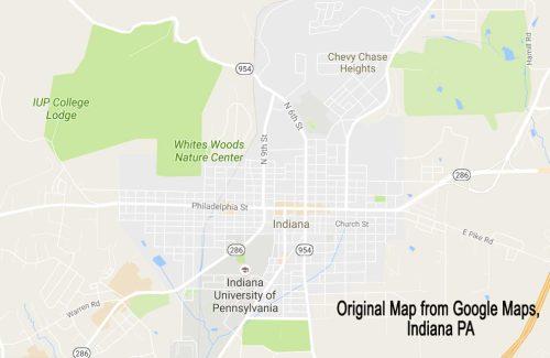 Google Map of Indiana, PA