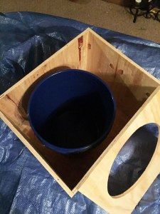 Box and bucket before painting