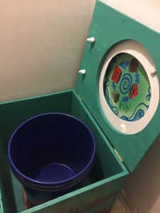 The compost toilet is simply a box with a collection bucket!