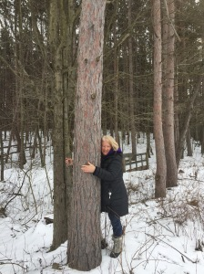 One of my dearest friends with me out on a winter hike!