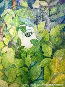 Spirit of Poison Ivy, a recent painting I did with the help of the flow of Awen