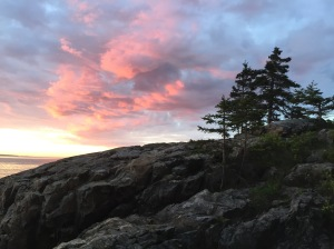 Rocky shore of Maine at sunrise