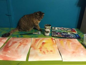 First layers of color with Acorn Cat supervising