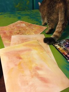 Watercolor wash on the front is much simpler - just using one to two colors on a wet sheet of paper.  Supervising cat is no longer paying much attention.