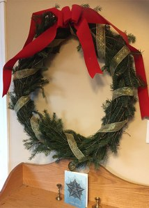 Completed wreath: wire, ribbon, and white spruce - beautiful!