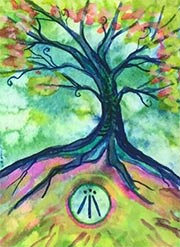 Watercolor Awen Tree #1, 2018