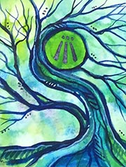 Watercolor Awen Tree #2, 2018