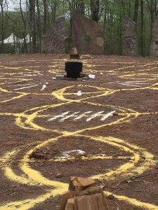 Massive ground mandala for ritual work at MAGUS 2018 (yellow and white cornmeal)