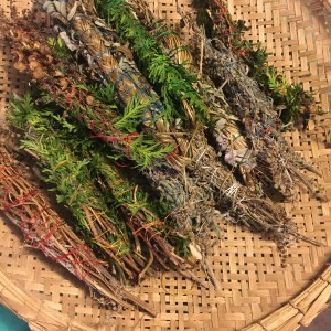 Basket of newly made smudge sticks