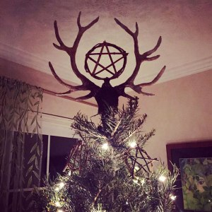 Handmade Stag and Pentacle Tree Topper with Handmade Ornaments