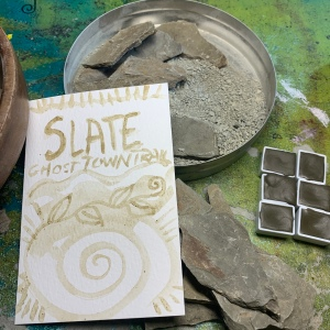 Watercolors made from local slate gathered on a hike on Ghosttown Trail (a local rail to trail)