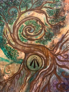 watercolor swirl painting--all of the browns were from foraged paint!
