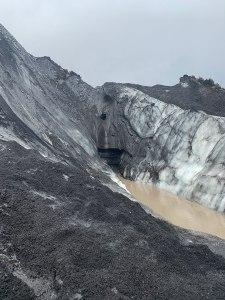 Crevasse in melting glacier