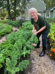 Linda harvests kale for the farmers market